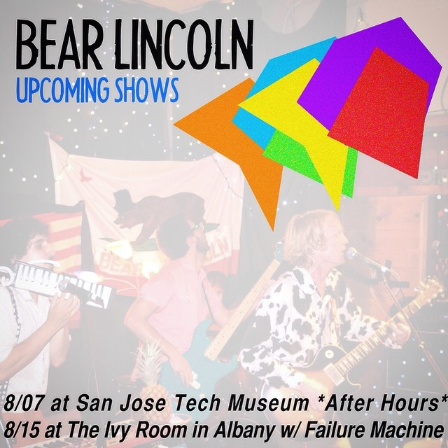 Our next two weeks! BL takes a bite outta Silicon Valley at the San Jose Tech Museum's Luau-themed *After Hours*  event THIS THURSDAY. Then we're back at the Ivy Room on 8/15 with Failure Machine who are cooler than the whole damn school district. Tell your cousins, aunts, uncles, and plants!