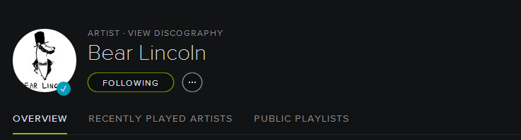 Scope us out on Spotify! We post playlists periodically, so you can see what we're listening to and discover new music along the way. Yadaddamean?    More info:  http://open.spotify.com/user/bearlincoln
