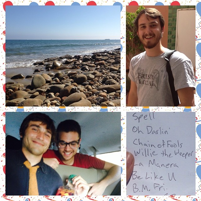 "Greetings from #SantaBarbeara! Clockwise from top left: the beach naturally, Ari ""The Man"" Cohen ready to record Mr. Trumpet at Einar's house, Derek and Taylor sharing a laugh over simply something, and a piece of a part of the wedding party set list.     Congratulations Zach and Rachel - and thank you to everyone who made this weekend so mistah fab!! We'll be back very soon."