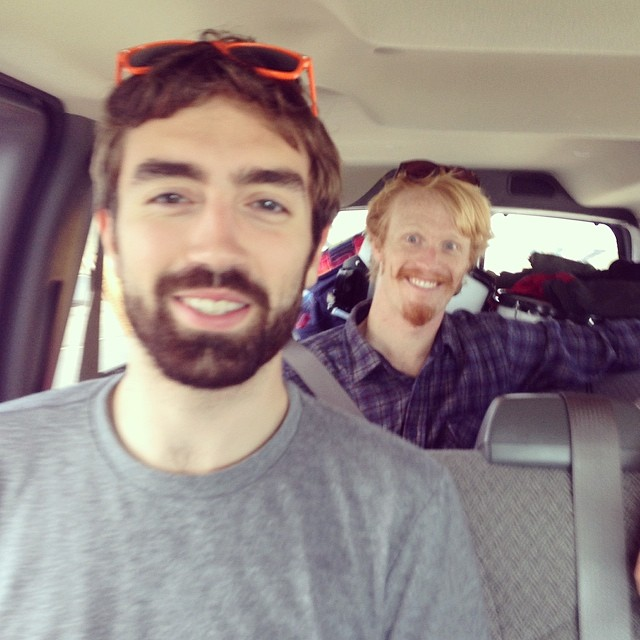 Alex aka @schmallonee aka Mr. Videographer and Aidan being goofballs in the van. Alex has filmed every Bear Lincoln music video to date and we're thrilled to travel to SoCal with him.  Pasadena tonight! #letscallitatour #bearlincoln
