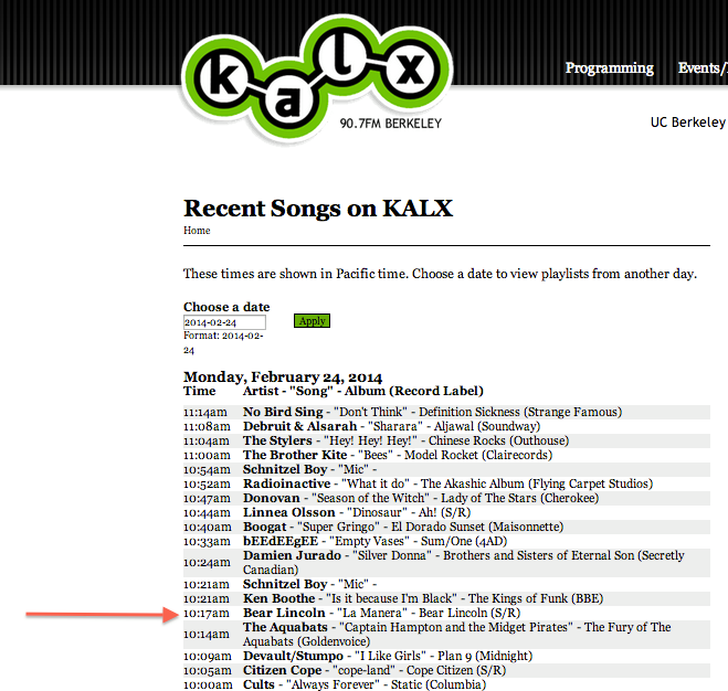 Bear Lincoln has just been played on Berkeley college radio 90.7  KALX !!! Our song, La Manera, was featured on DJ Julian's radio show. Thank you KALX for supporting local music.
