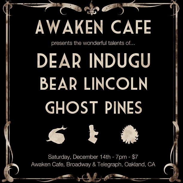 Our next show is on Saturday 12/14 at Awaken cafe with two other great bands. Come on out!