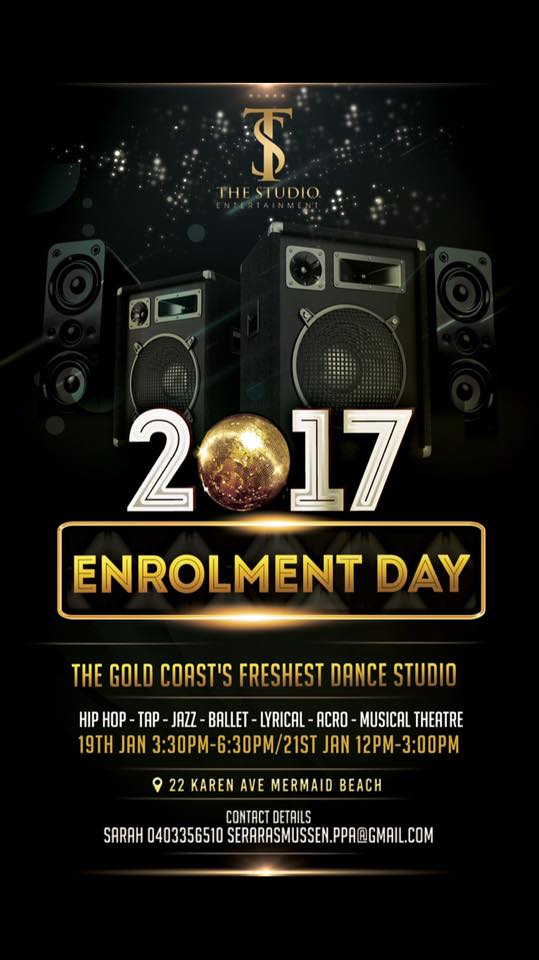 Are you ready for The Studio Entertainment experience of 2017? A BIGGER and BETTER year is coming for the Gold Coast's freshest dance studio. We cater for all ages offering classes in ballet, jazz, tap, hip hop, musical theatre, acrobatics, contemporary and lyrical. Join us on 19th January 3:30pm-6:30pm or 21st January 12pm-3pm to secure your spot for next year. We can't wait to see you then.