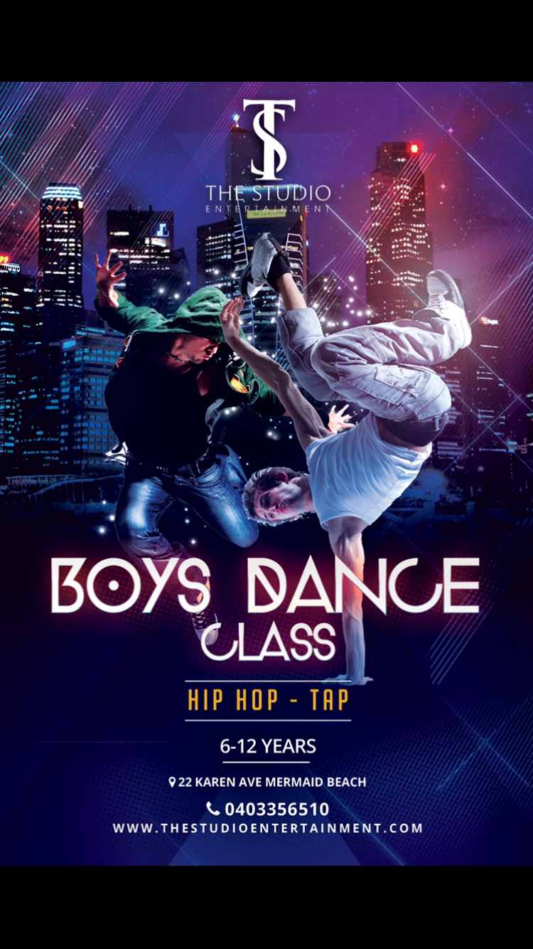 THIS CLASS IS JUST FOR THE BOYS !!  WE OFFER TAP AND HIP HOP CLASSES FOR BOYS AGED 6 TO 12 YEARS EVERY TUESDAY NIGHT.