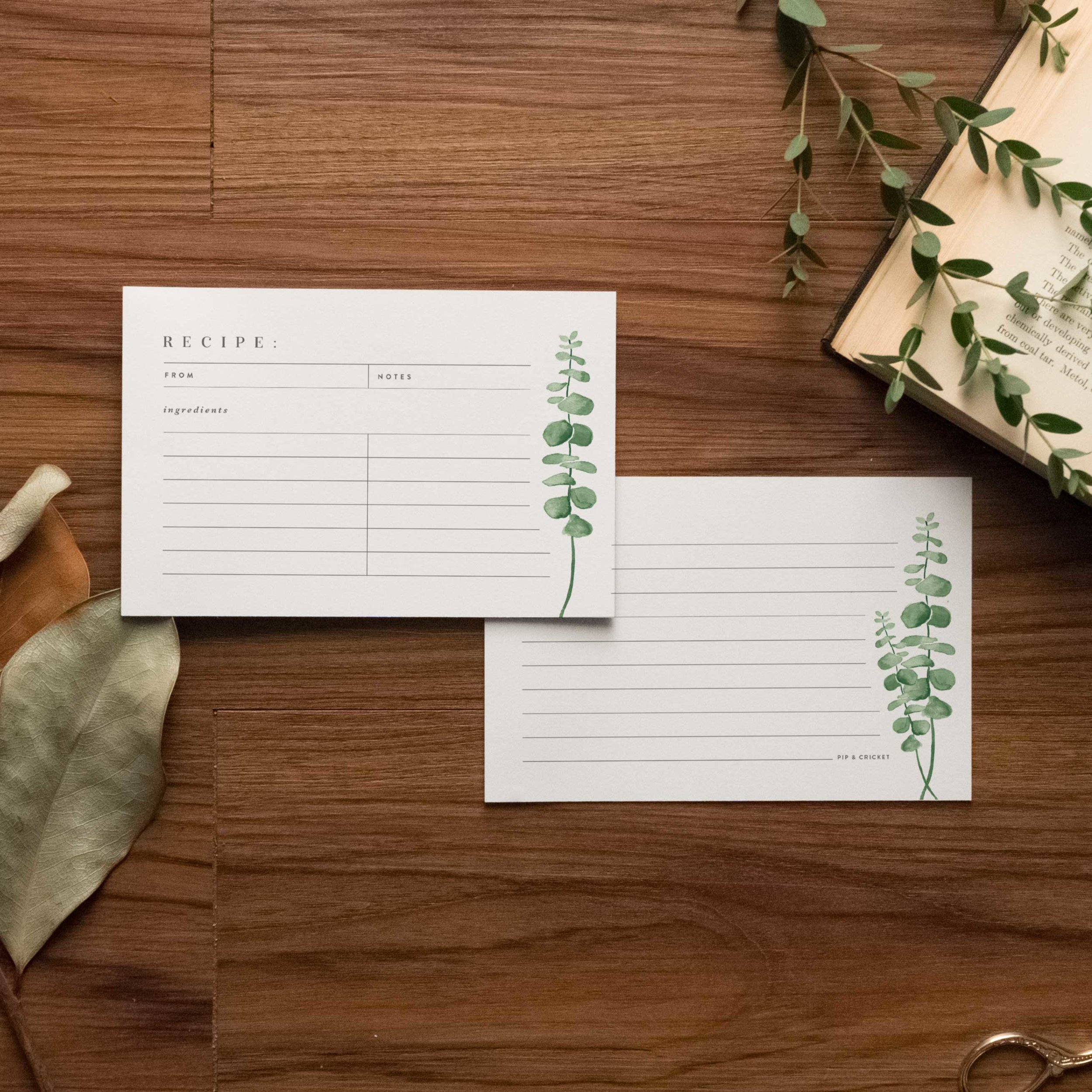Eucalyptus Recipe Cards - Starting at $8.00