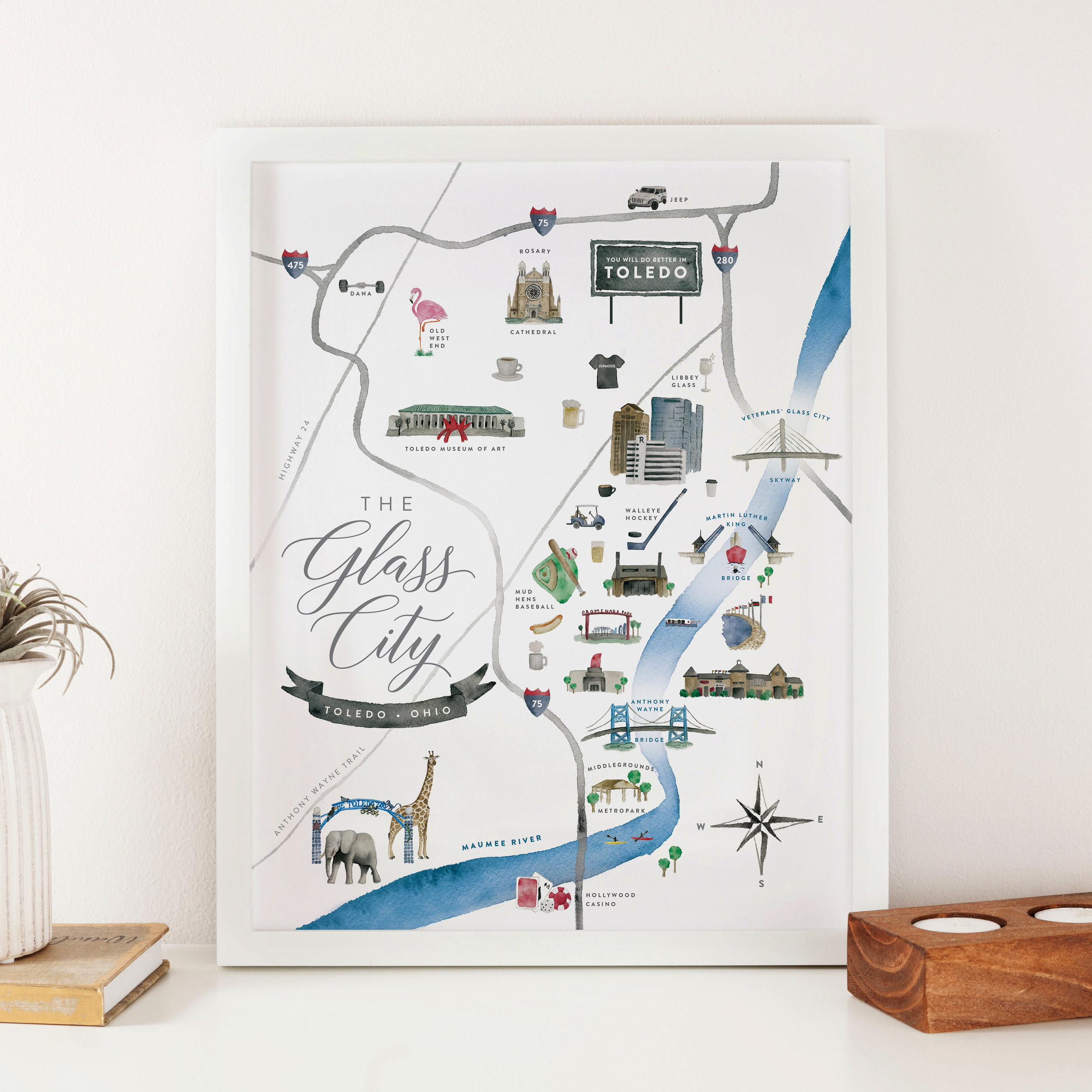 Toledo, Ohio Watercolor Map Print - Starting at $24.00