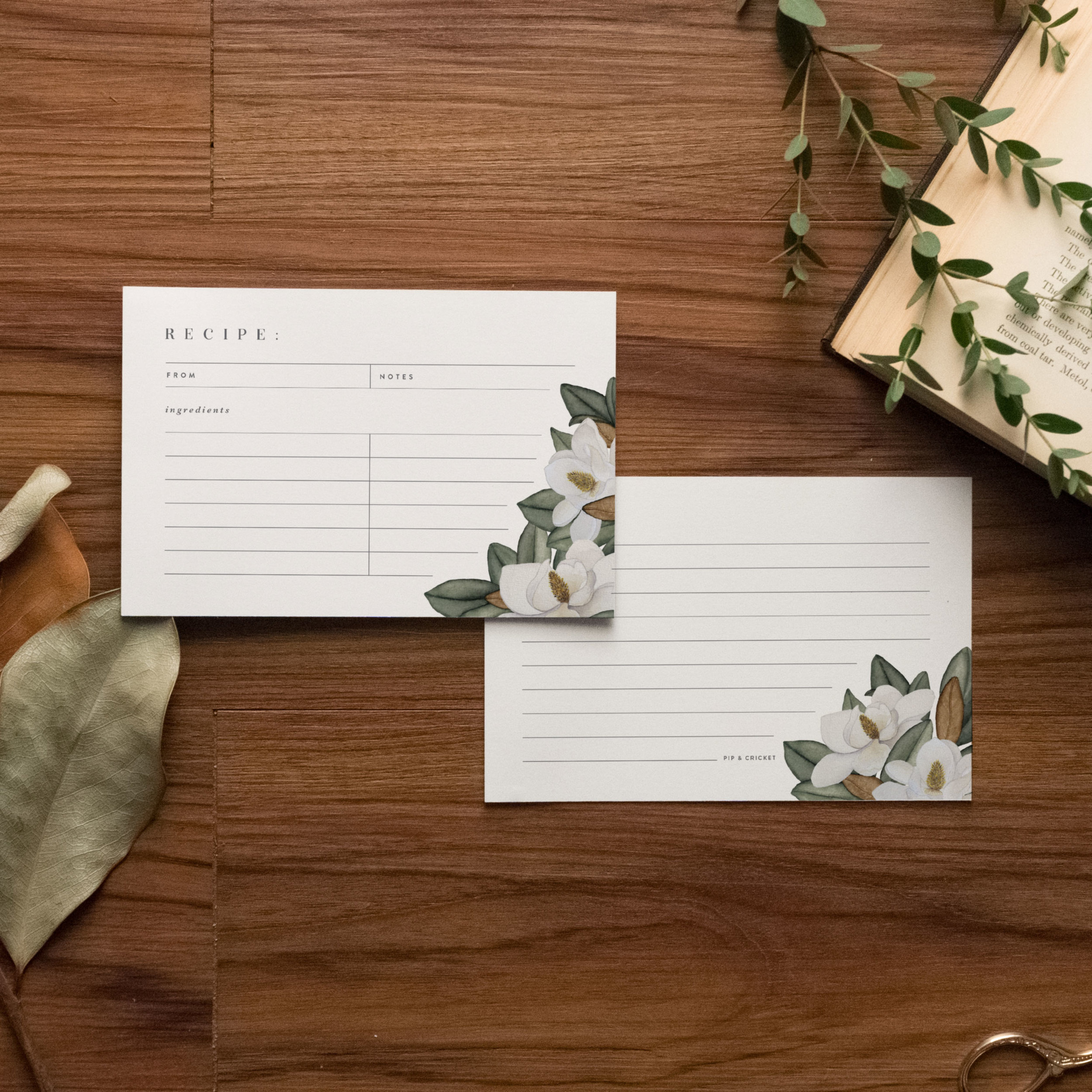 Magnolia Flower Recipe Cards - Starting at $8.00