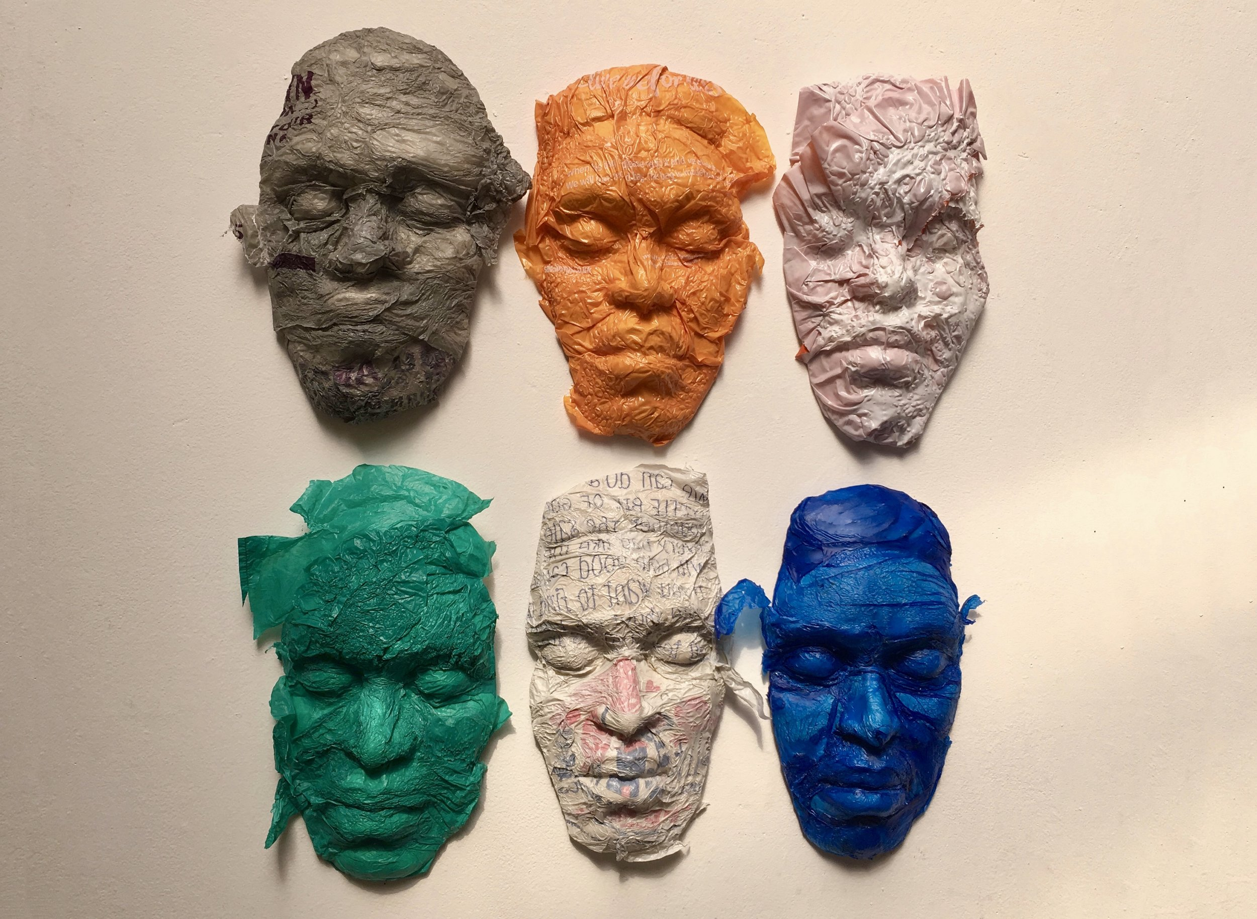 Bags for Life  (Plastic Bags, Plaster Masks; each mask approx 20cm x 10cm)