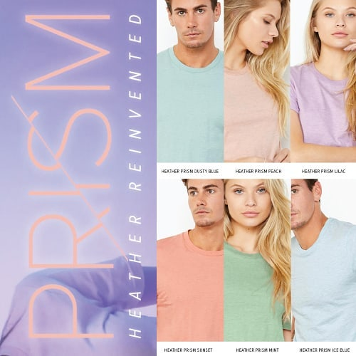 Spring has sprung! Check out the new heather colors from Bella Canvas! #pastelcolors