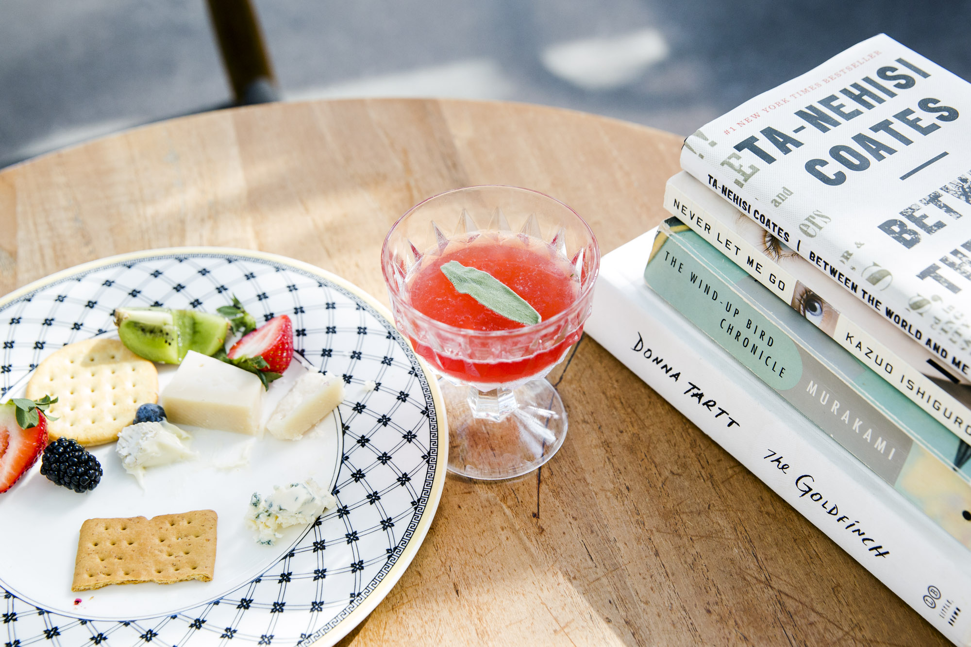 Commissary at the Line Hotel for quiet reading and summer snacks.