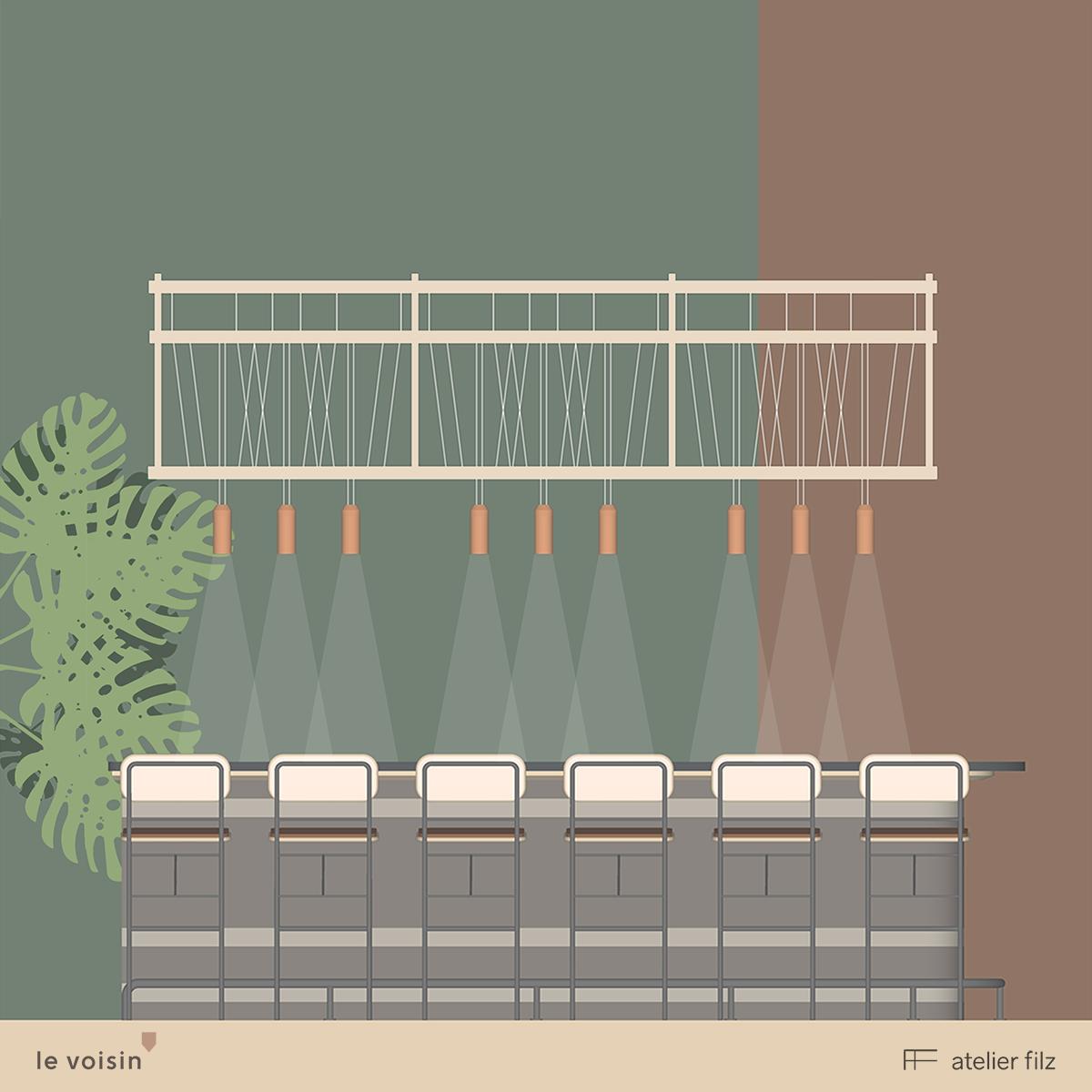 Illustrations créées par Atelier Filz pour dévoiler le projet avant son ouverture.