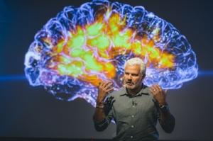 UCSF's Adam Gazzaley speaking at the Rosenman Symposium in 2016