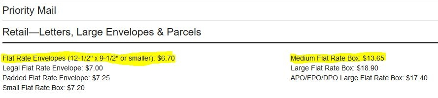 - Highlighted above are the two packages that I commonly use for Flat rate shipments and the 2018 prices.Takes about 1-3 days