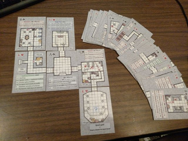 This is a great idea that @Axebane made, a deck of cards to make random dungeons. I've done a couple of games with them and I love them. ⠀ ⠀ If they were at game scale to use minis on them they'd be perfect. But that would require tabloid sized pages for these...
