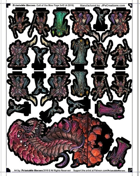 """In April 2019 @PrintableHeroes released a special set for an adventure named """"Cult of the Maw"""". I put those figures together onto a couple of pages in case anyone wants them printed, laminated, and cut:  https://buff.ly/2JiEMLw"""
