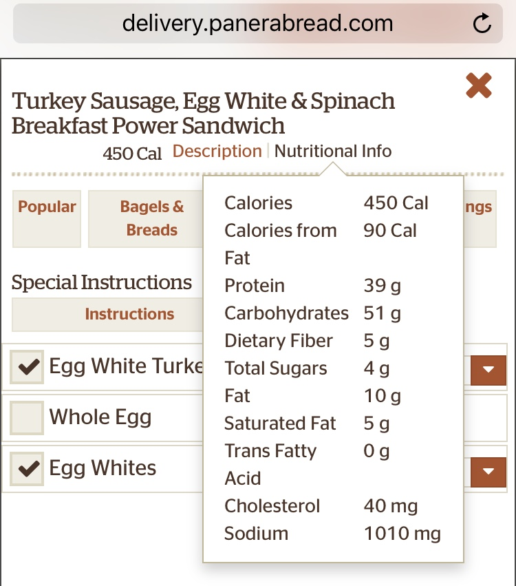 Starting a day of travel off at Panera Bread, I opted for one of the power sandwiches because it was low in calories. Then, I opted to remove the cheese because it drastically increased the fat content. I added an extra egg white to amp up the protein content.