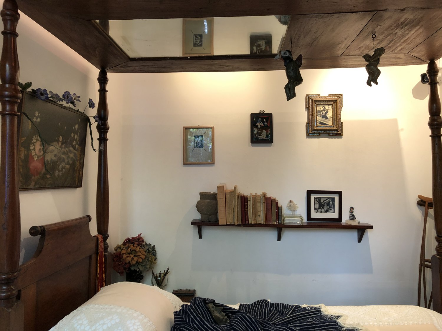 One can argue that her bed was also her studio. Having spent the majority of her life in it. The mirror on top was used for her self-portraits.