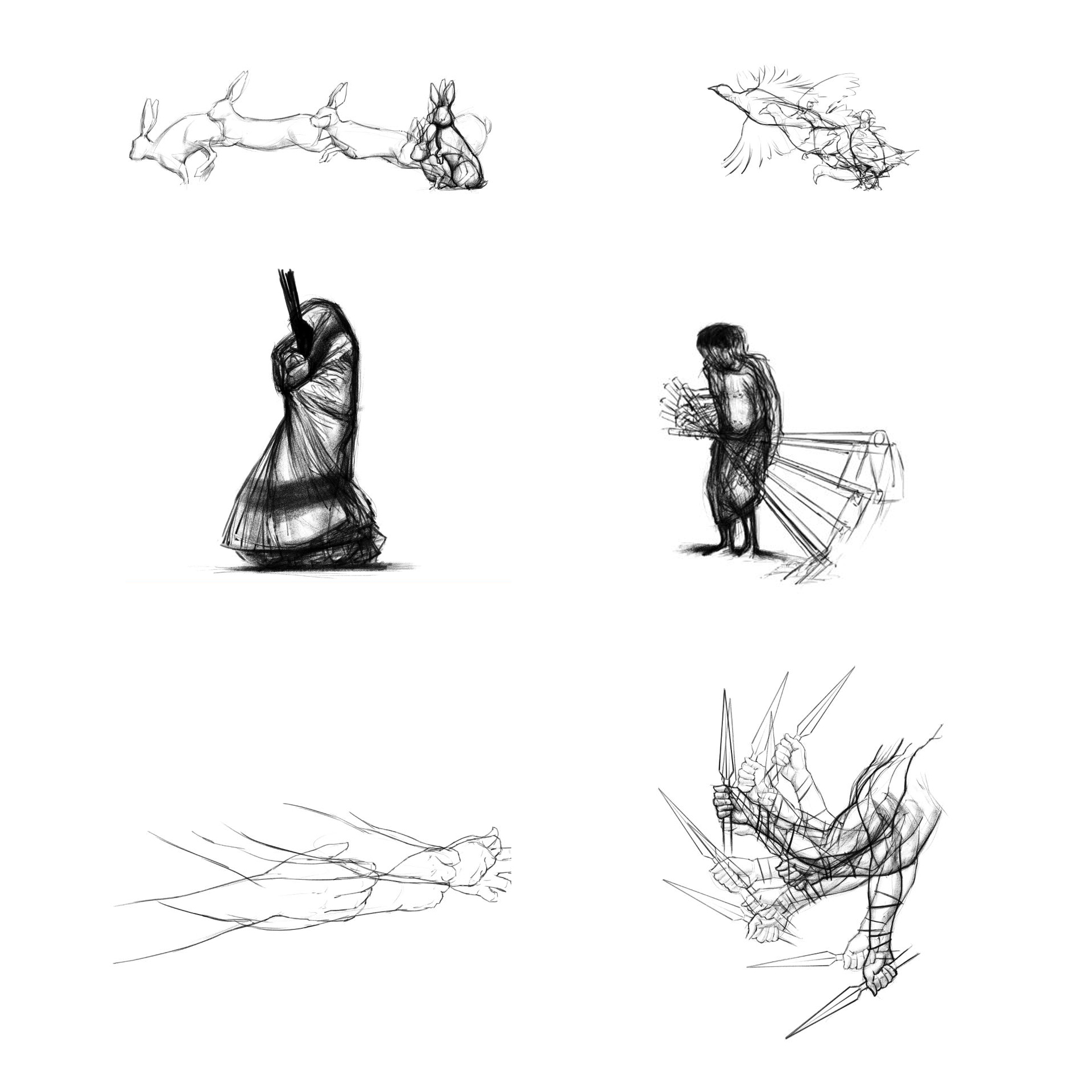 Frames from sketch animations 'layered' up.