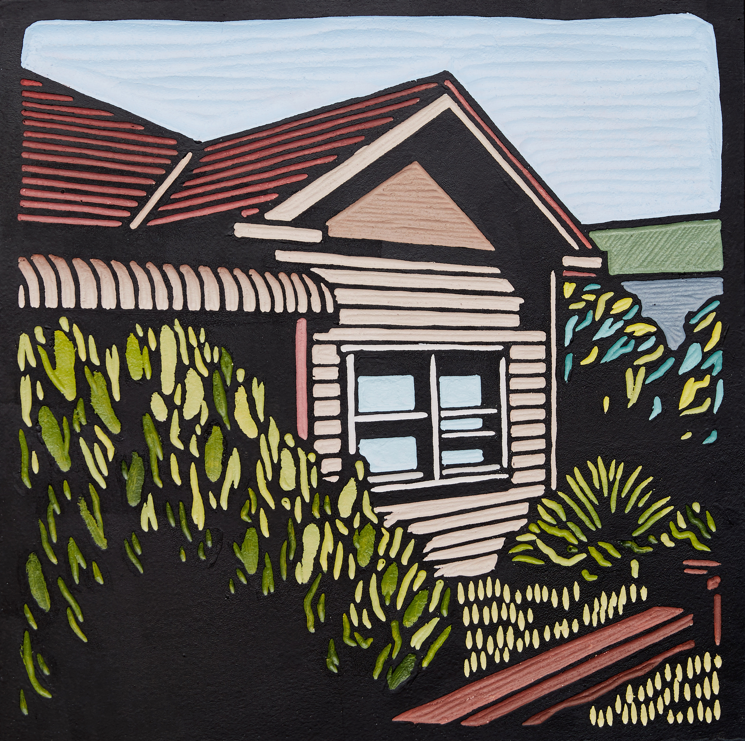 Coledale Cottage  2019 acrylic on wood relief carving 30 x 30 cm