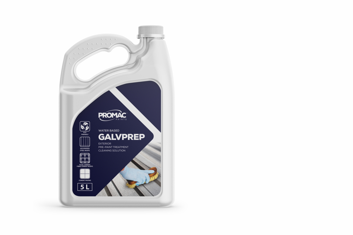 GALVPREP - WATER BASEDPromac GALVPREP multi purpose etch & rust cleaner is a ready to use cleaner and etching compound for the preparation of new, weathered or rusted galvanized iron, new or rusted steel, fibre cement, concrete roof tiles and smooth concrete paving prior to painting. It may also be used for pre-cleaning surfaces, where additional mechanical cleaning may be required on stubborn dirt or rust.