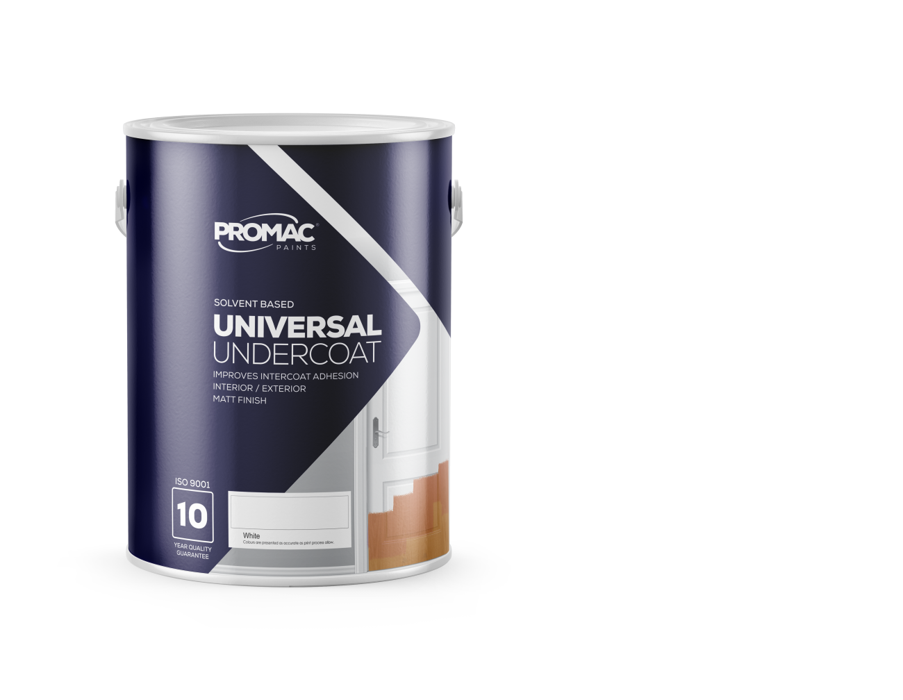 UNIVERSALUNDERCOAT - SOLVENT BASEDPromac Universal Undercoat is a solvent based high quality undercoat that may be used over a wide range of primers to improve the adhesion and bonding between the primer and top coat or between a solvent and water based top coat. It improves hiding properties of the paint system, while providing a sandable surface to ensure a quality finish.