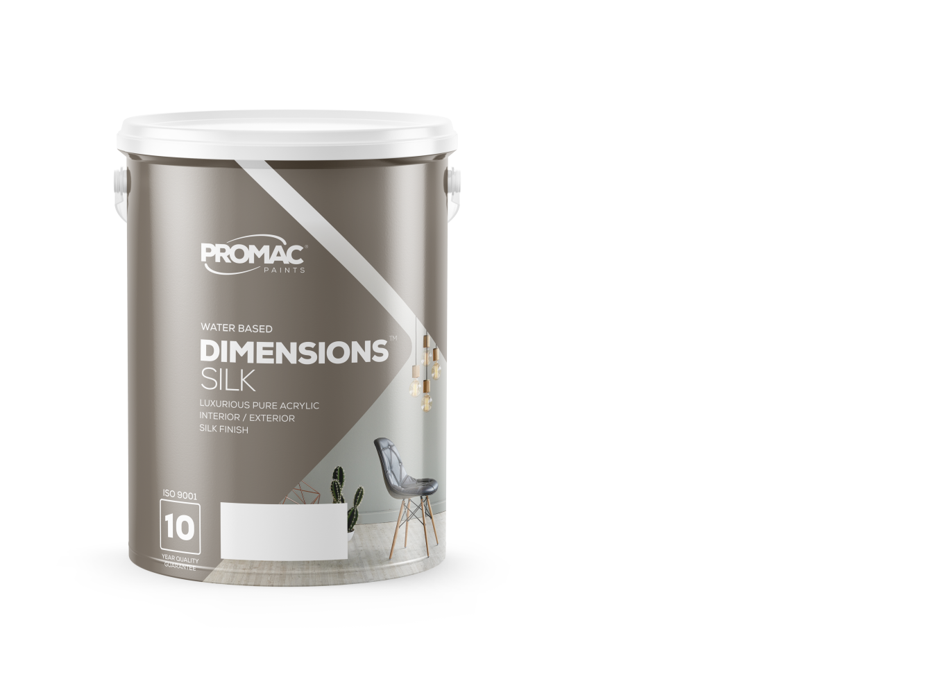 DIMENSIONSSILK - WATER BASEDPromac Dimensions™ Silk is a water-based, pure acrylic, with a high-quality sheen finish and excellent washability making it suitable for high traffic interior and exterior areas. It has excellent adhesive properties and is stain and water resistant.