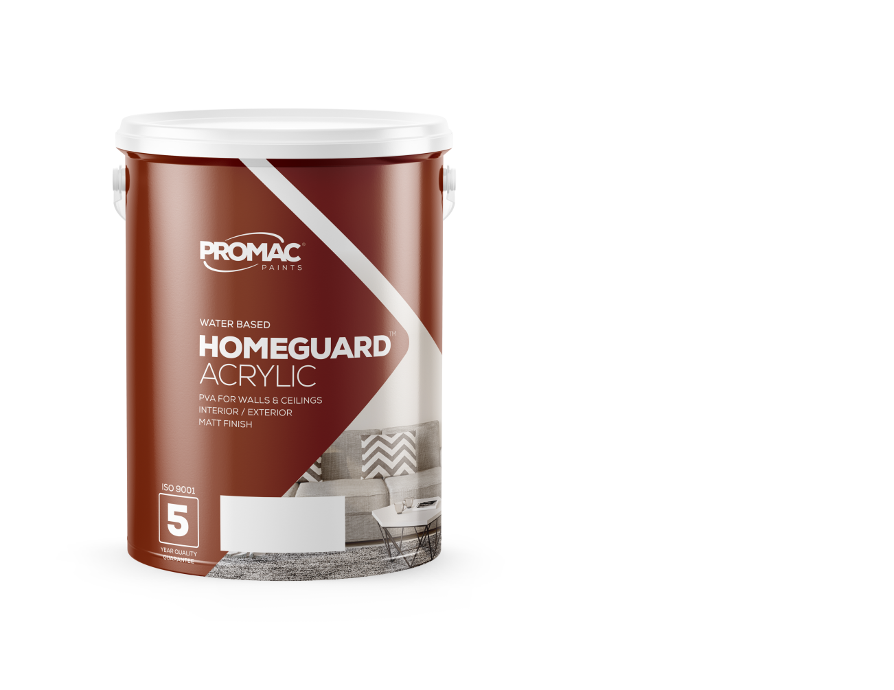 HOMEGUARDACRYLIC - WATER BASEDPromac Homeguard™ Acrylic is water based with a quality matt finish. It has excellent hiding power with some washability for interior and exterior areas. It is meant for application to both primed and sound previously painted areas.