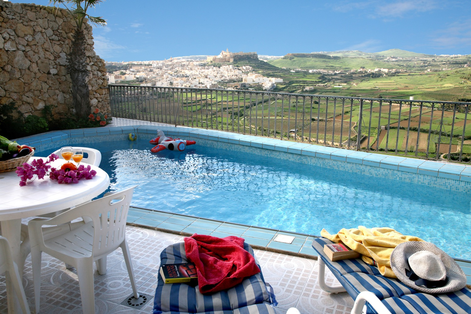 Pool with view of rolling hills