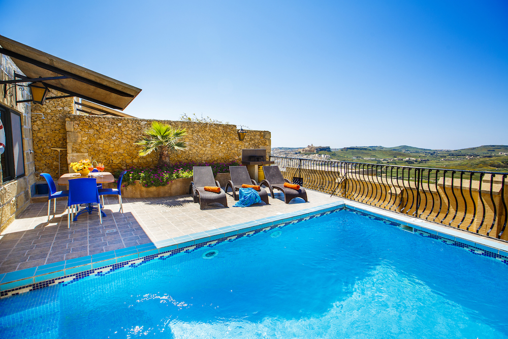 The private pool terrace facing spectacular views