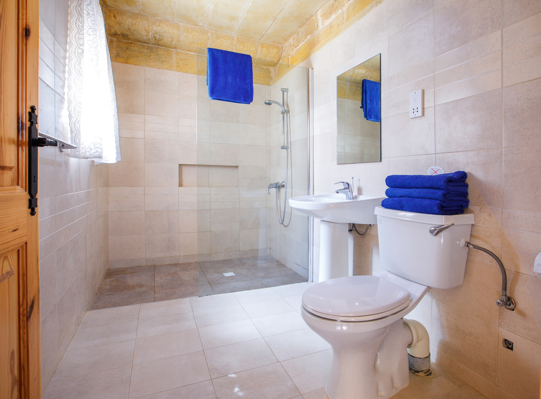 The spacious walk-in shower bathroom
