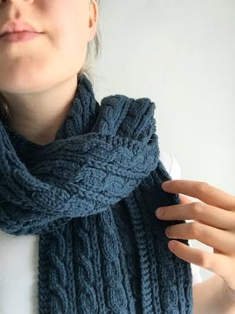Wrapped in Cables, an elegant scarf pattern