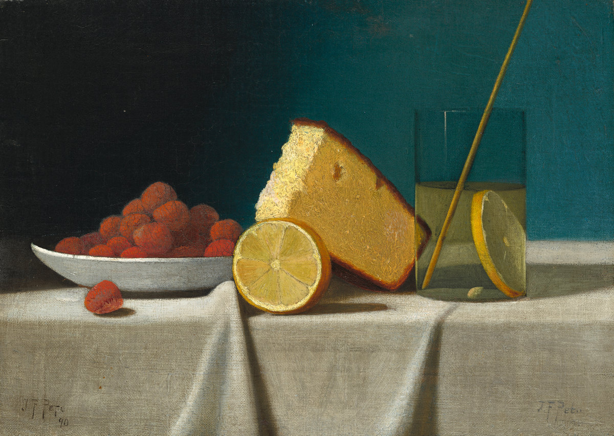 Restraint : I want my wardrobe to be as spare and well considered as this glorious still life. John Frederick Peto;  Still Life with Cake, Lemon, Strawberries, and Glass ; 1890,  National Gallery of Art . (Note: There is also colour in this!)
