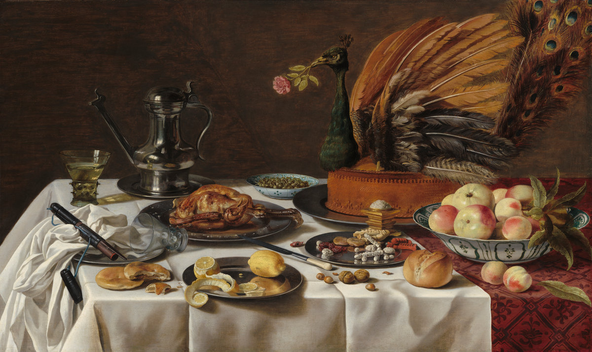 The opposite of restraint:  Pieter Claesz,  Still Life with Peacock Pie  (plumage, for pity's sake!!!), 1627,  National Gallery of Art .