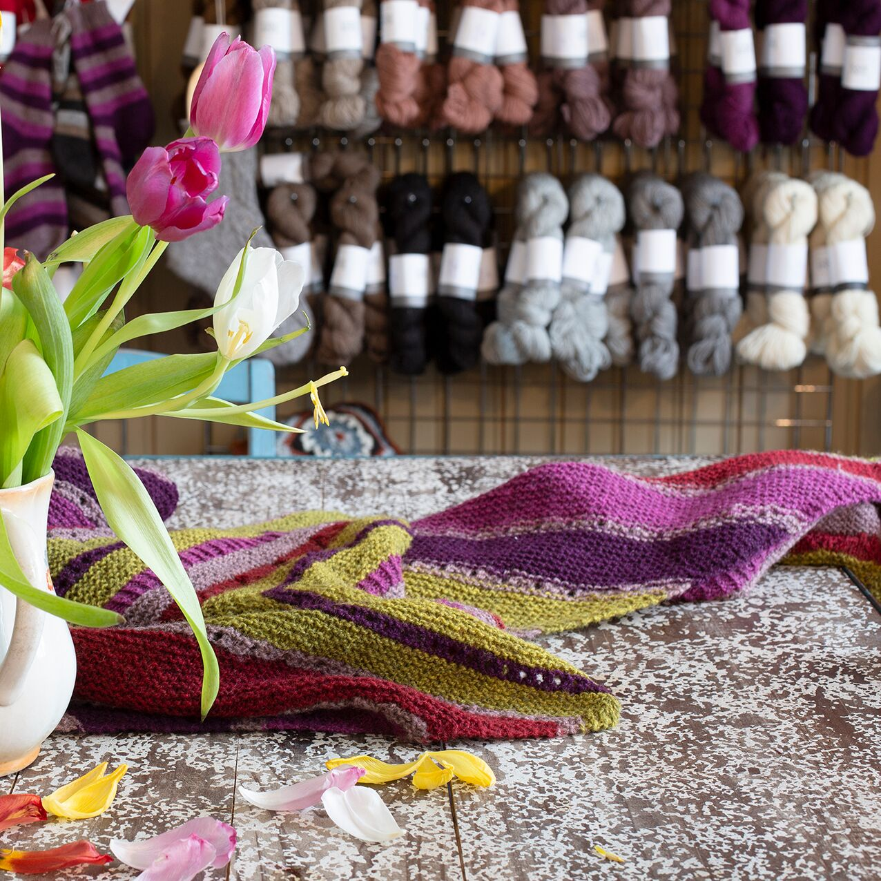 With glowing colours and lovely neutrals, Tukuwool is a natural for colourwork, from stripes to intricate stranded patterns.