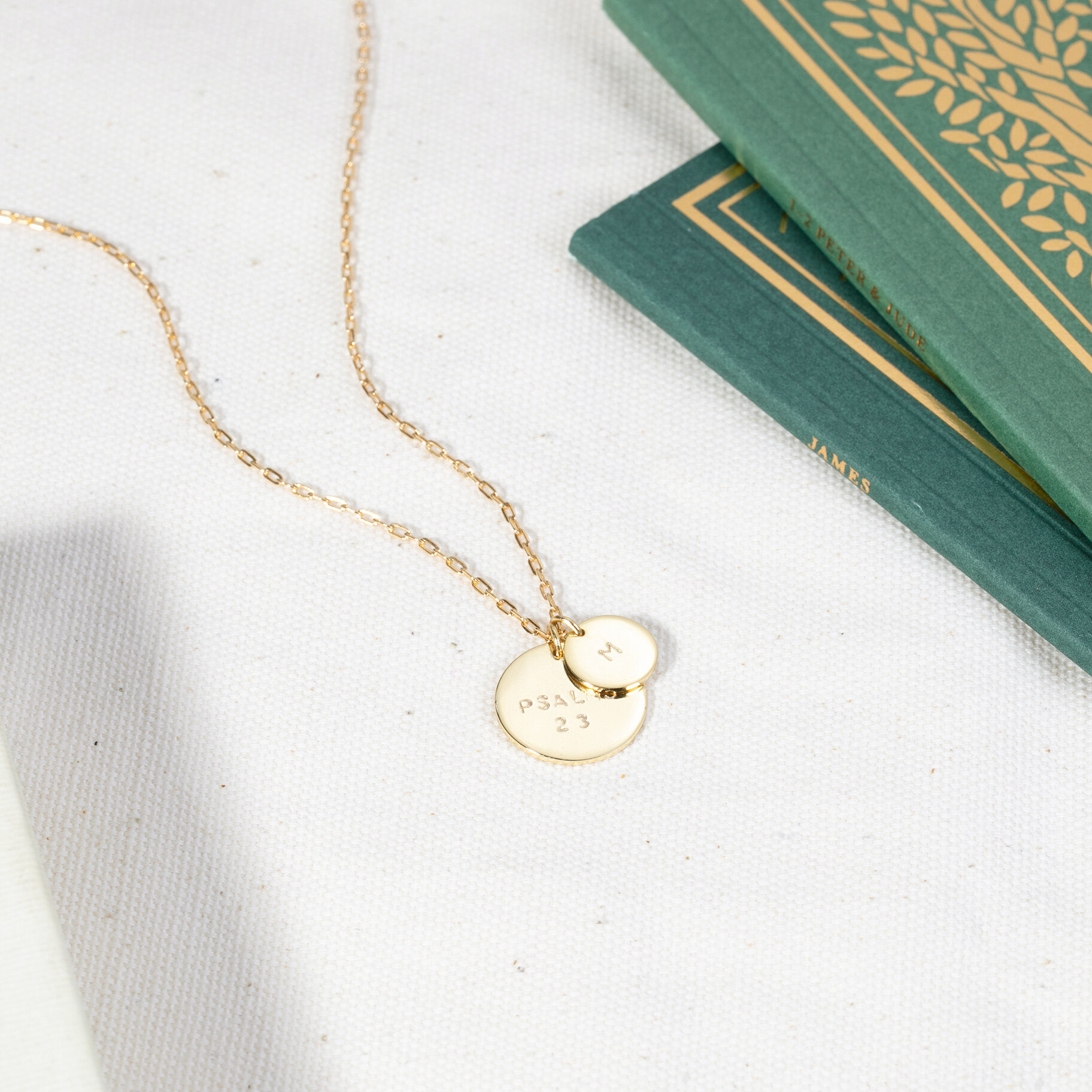 GOLD DOUBLE DISK NECKLACE
