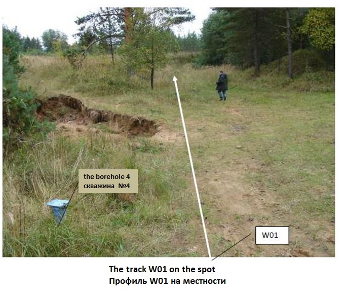 Fig. 5. GPR measurement track in the area of mining allotment of the Kirov mine.