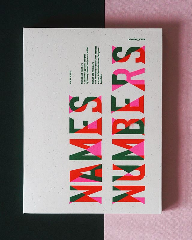 Names and Numbers - A book I designed while at @adidas showcasing all the beautiful typefaces made by some of the very talented designers working there.  The book is paper back and Swiss bound. Printed on recycled paper and handmade by myself with a risograph printed cover. • • Cover type by Catherine Norrie