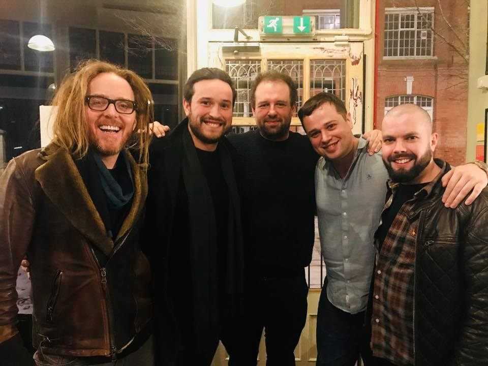Left to Right: Tim Minchin (Music & Lyrics), Felix Stickland (Guitar), Stephen Gilbey (Trumpet), Andrew Corcoran (Musical Director), Sion Jones (Trombone).