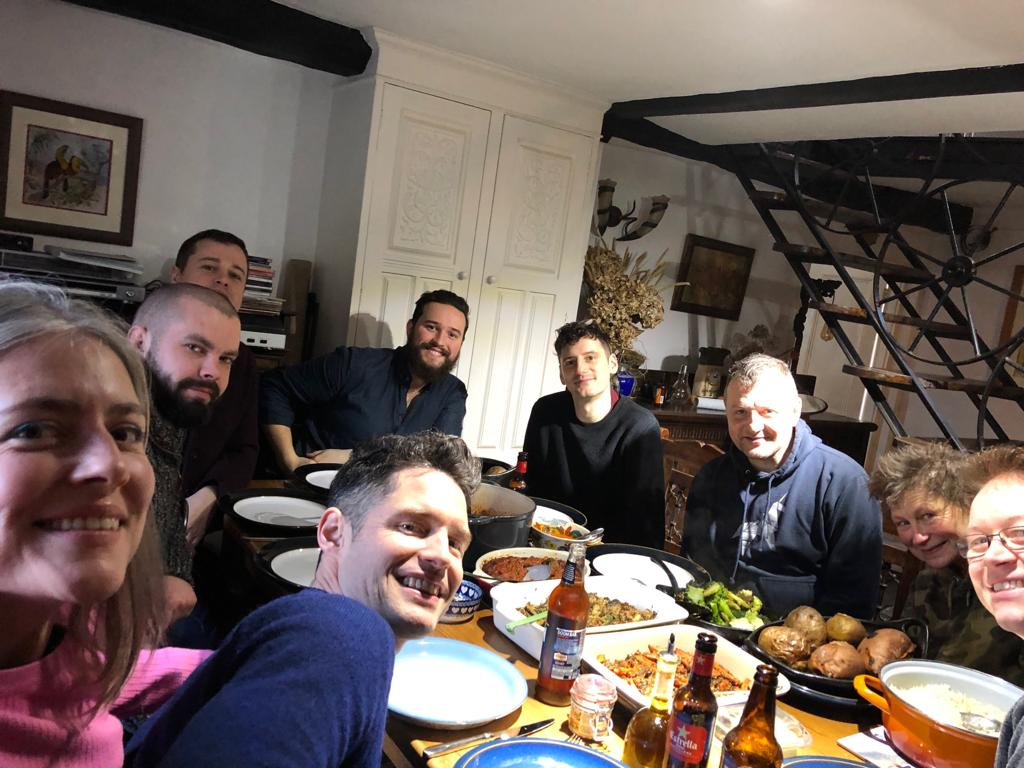 A great feed with the fabulous Matilda Band! L-R Yvonne Parsons (cello), Sion Jones (trombone), Andrew Corcoran (me), Mike Steel (Assistant MD), Felix Stickland (guitar), Simon Wells, Duncan Ashby (woodwind), Sue Phipps (woodwind), Jim Davies (trumpet).