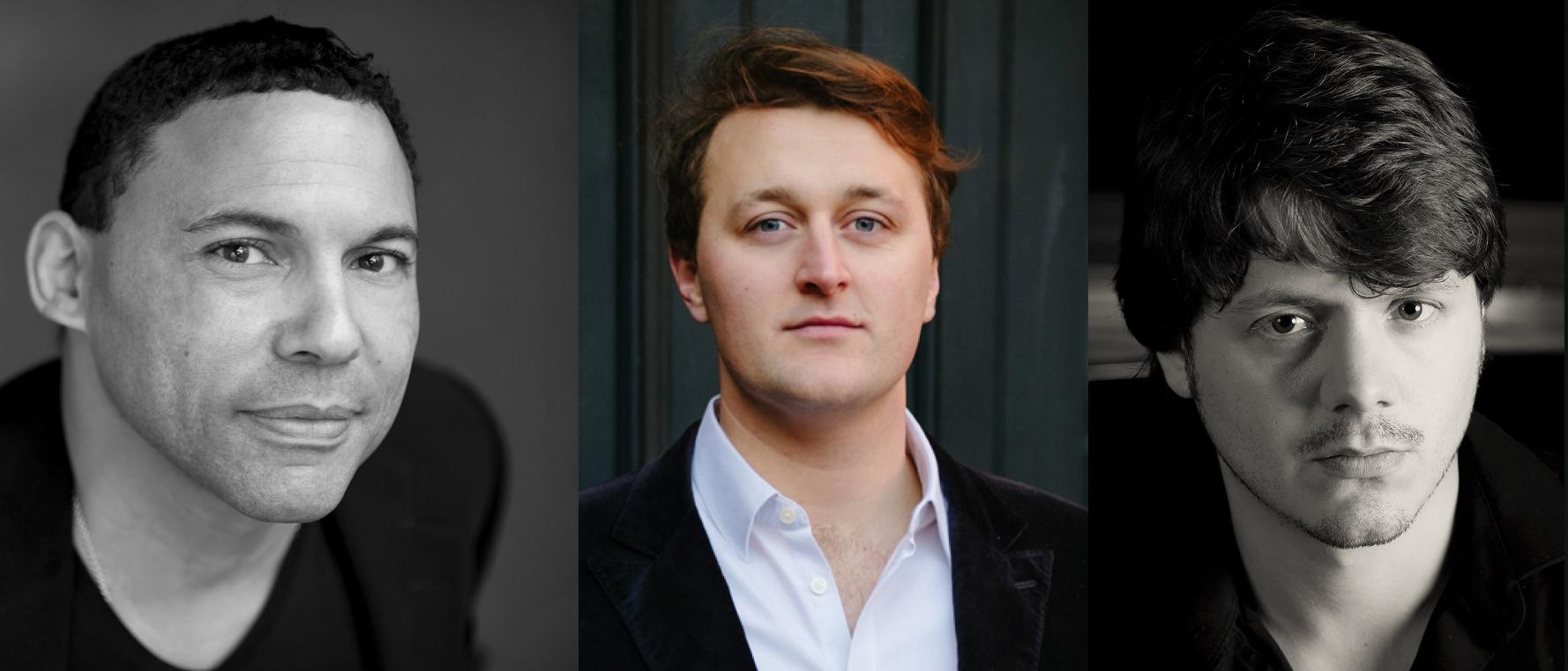 From Left to Right: Tom Randle (Leonardo), Feargal Mostyn-Williams (counter-tenor), and Richard Immerglück (Melzi).