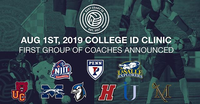 Our first group of college coaches are confirmed for our August 1, 2019 'Summer ID Clinic' in PA. Only 64 player spots available per gender, for more information visit www.eastcoastid.com  @njitwsoccer @villemarauders @etownbluejays @moravianathletics @ucwomenssoccer @ucmenssoccer @pennsoccer @lasalle_msoc @hcmsoccer @immaculata_mens_soccer