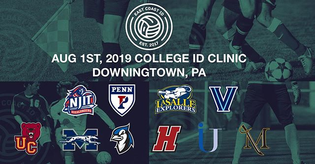 SUMMER COLLEGE SOCCER ID CAMP IN DOWNINGTOWN, PA ON 8/1/19. EXCELLENT LINE-UP OF CONFIRMED COLLEGE COACHES FOR BOYS & GIRLS... FOR INFO & REGISTRATION VISIT: www.eastcoastid.com  #EastCoastCommitted