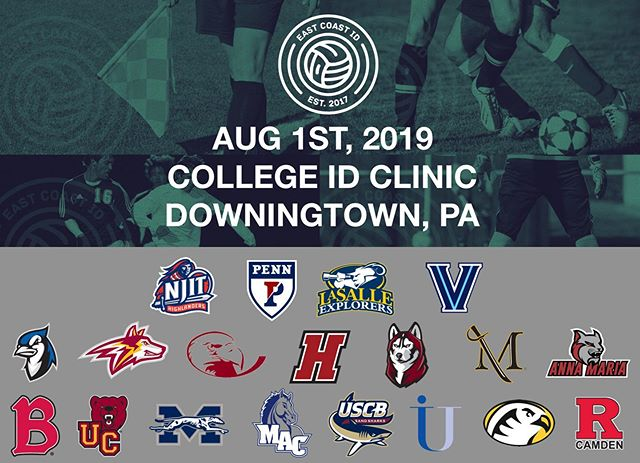 The confirmed college coach list for our 8/1/19 Summer ID Clinic KEEPS GROWING! For INFO & REG VISIT: www.eastcoastid.com #CollegeSoccer #SoccerShowcase #CollegeID #CollegeShowcase