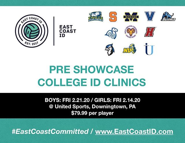 We are excited to announce our first batch of college coaches / programs who are confirmed for our Pre-Showcase ID Clinics in February.  LIMITED PLAYER SPOTS AVAILABLE. For Reg and Info Visit www.eastcoastid.com #EastCoastCommitted @umichwsoccer @cusemsoc @bengalswsoc @lasalle_msoc @novawsoccer @conn_coll_mens_soccer @etownbluejays @wcumenssoccer @neumannwsoc @hcmsoccer @immaculata_mens_soccer