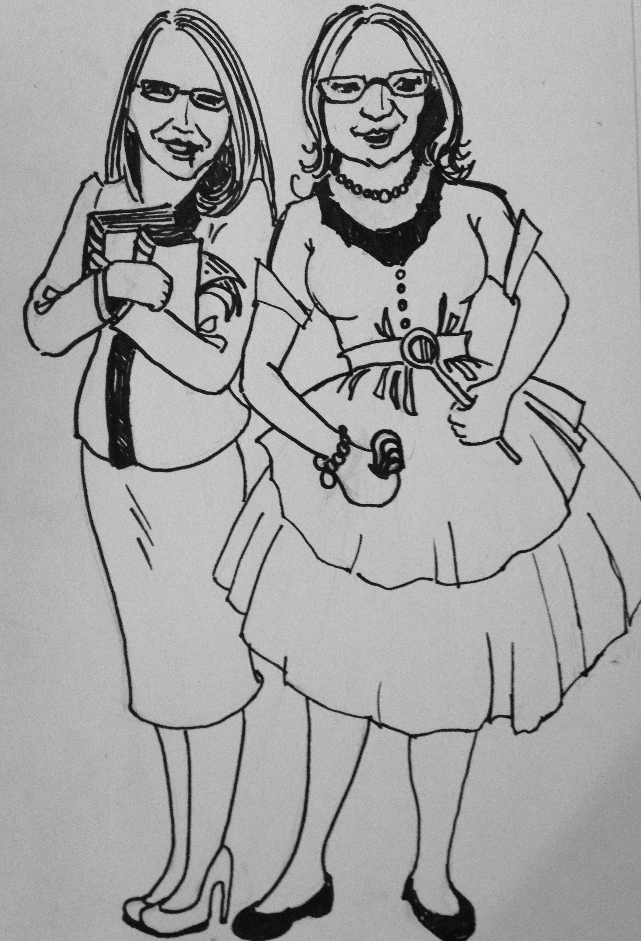 Me (clutching books) and My Sister, Diana. (Drawing by Donna Craig)