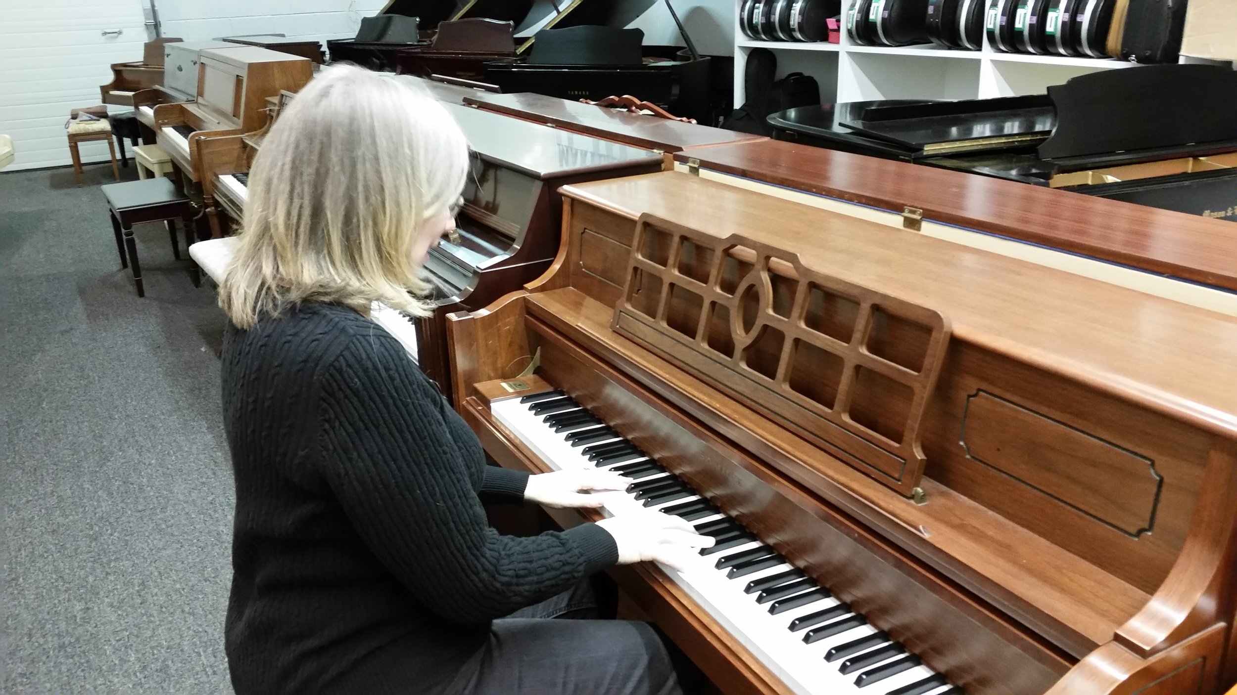 Me picking out my new piano