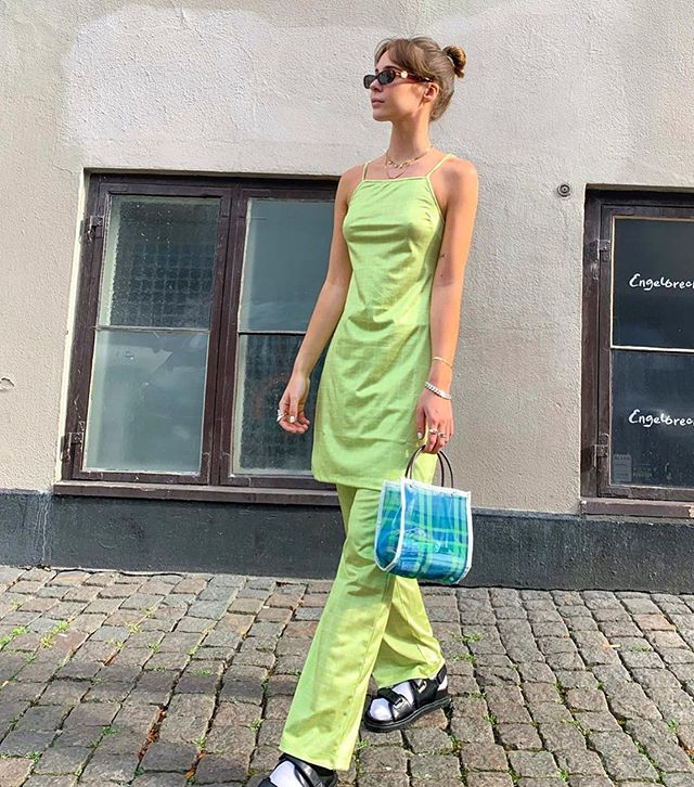 💚💚💚💚 Our lovely @karolinebeltner wearing NORA pants and dress ☀️☀️ get the outfit online or tap to shop🌿