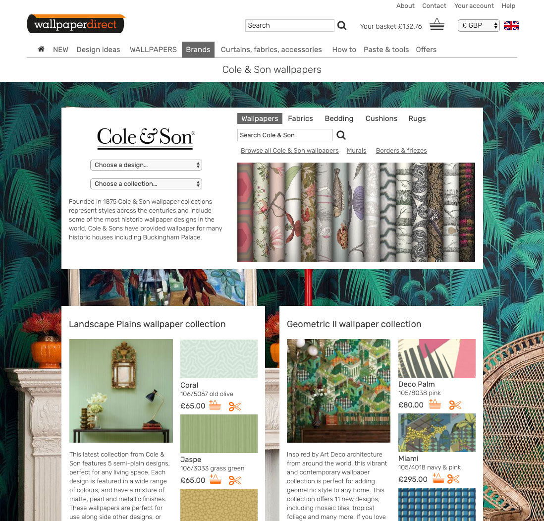 Cole & Son brand page from the wallpaperdirect prototype