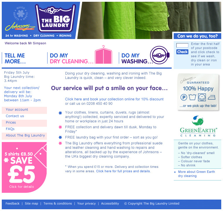 We helped the Big Laundry design and deliver their online laundry service, including a back end interface for managing collections and deliveries. Big Laundry were bought by Johnsons Cleaners as their first foray into eCommerce.