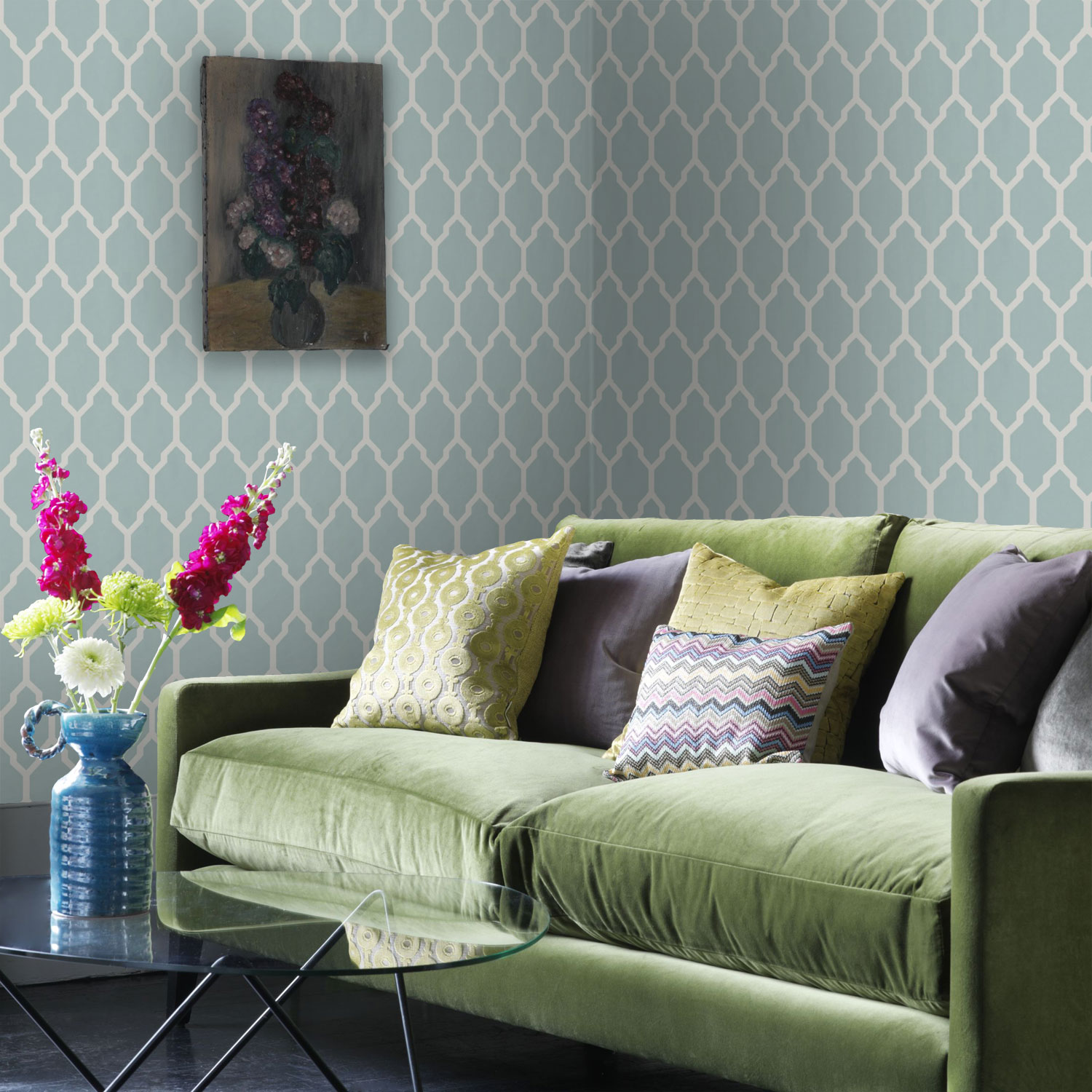 Delicately retouched images allow wallpapers to be dynamically previewed in a range of roomsets